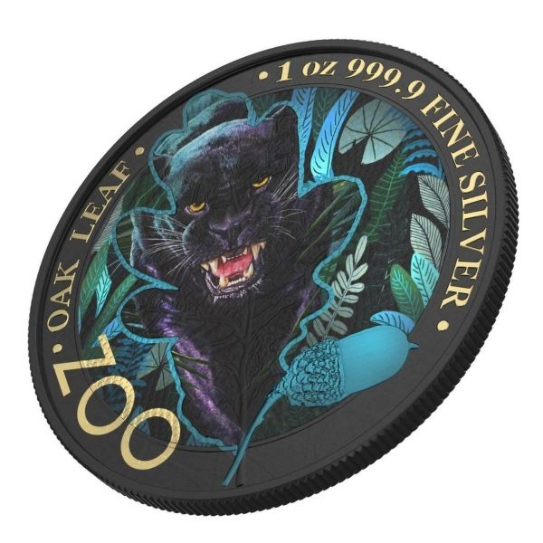 Germania 2019 5 Mark The Oak Leaf - Zoo Series - Black Panther 1 Oz Silver Coin