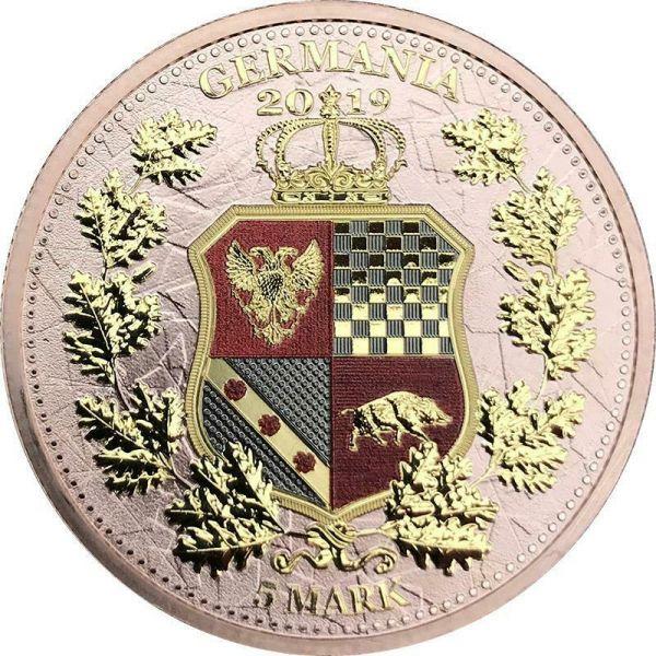 Germania 2019 5 Mark Germania & Britannia - Red Gold 1 Oz Silver Coin