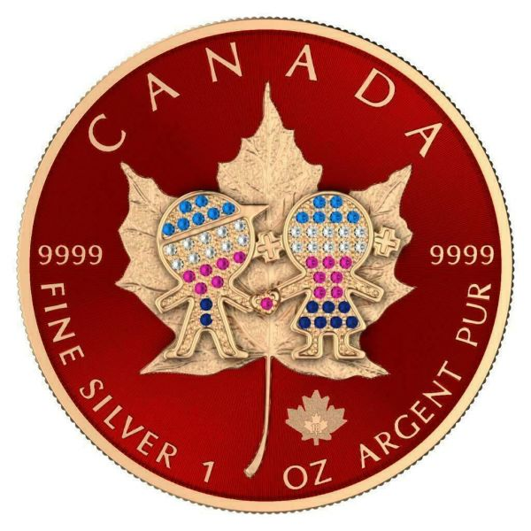 Canada 2019 5$ Maple Leaf Valentine's Day 1 Oz Bejeweled Silver Coin