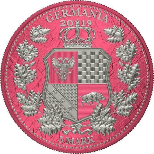 Germania 2019 5 Mark Columbia & Germania i-Color - Brink Pink 1 Oz Silver Coin
