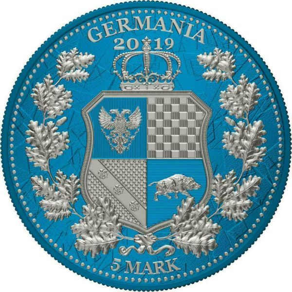 Germania 2019 5 Mark Columbia & Germania i-Color - Cerulean 1 Oz Silver Coin
