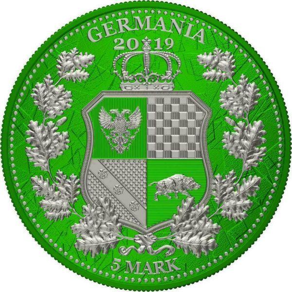 Germania 2019 5 Mark Columbia & Germania i-Color - Harlequin 1 Oz Silver Coin
