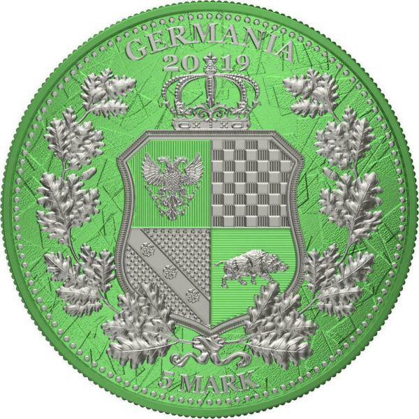 Germania 2019 5 Mark Columbia & Germania i-Color - Mantis 1 Oz Silver Coin