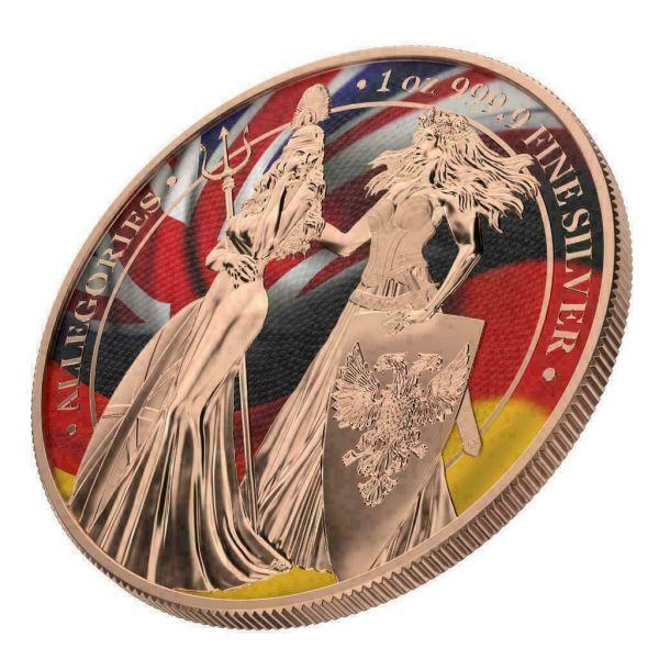 Germania 2019 5 Mark Germania & Britannia - Flags / Gilded 1Oz Silver Coin