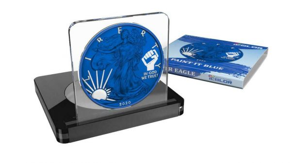 USA 2020 1$ Liberty Space Colour Edition - PAINT IT BLUE - 1 Oz Silver Coin