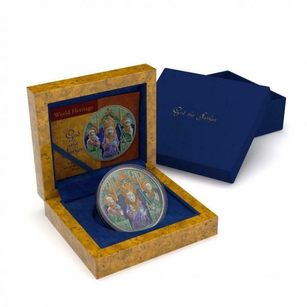 Niue 2014 $5 World Heritage God the Father 2 Oz Gilded Silver Coin