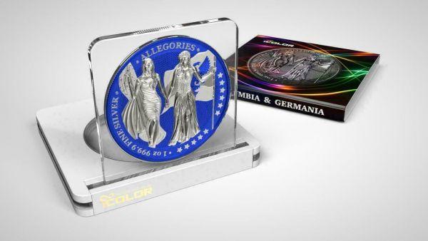 Germania 2019 5 Mark Columbia & Germania i-Color - Persian Blue 1 Oz Silver Coin