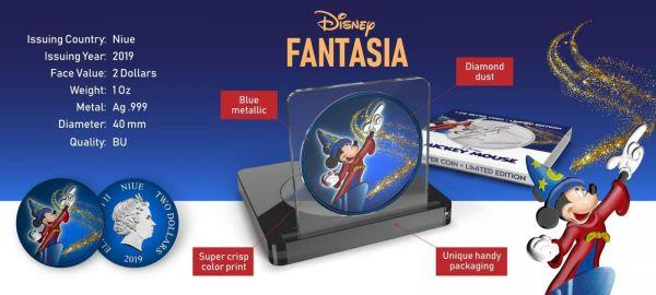 Niue 2019 $2 Mickey Mouse - Fantasia with Diamond Dust 1 Oz Silver Coin