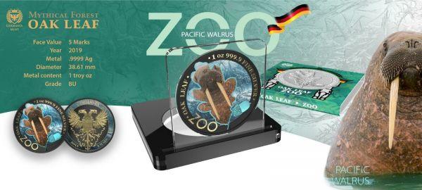 Germania 2019 5 Mark The Oak Leaf - Zoo Series - Walrus 1 Oz Silver Coin