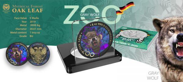Germania 2019 5 Mark The Oak Leaf - Zoo Series - Wolf - 1 Oz Silver Coin