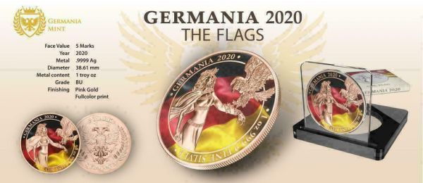 Germania 2020 5 Mark Germania - The Flags - 1 Oz Silver Coin
