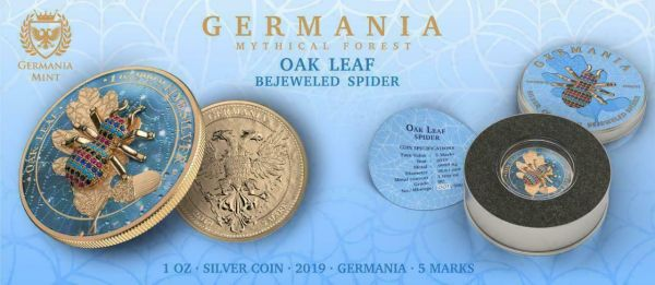 Germania 2019 5 Mark Oak Leaf - Bejeweled Spider - 1 Oz Silver Coin