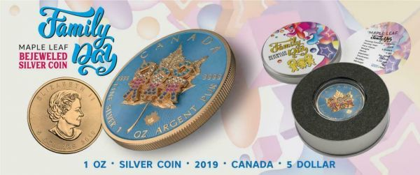 Canada 2019 5$ Maple Leaf Family Day 1 Oz Bejeweled Silver Coin