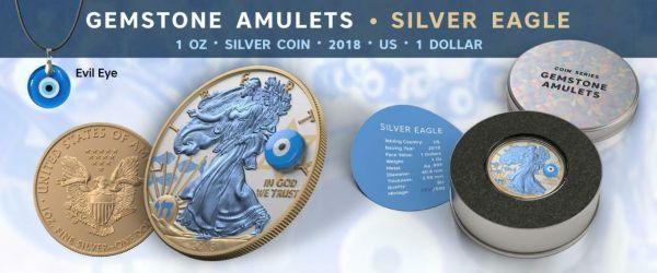 USA 2018 $1 Silver Eagle Gemstone Evil Eye 1 Oz Silver Gilded Coin