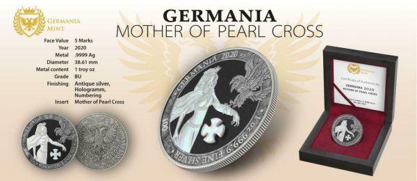 Germania 2020 5 Mark GERMANIA Pearl Cross 1 Oz Silver Coin