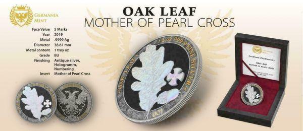 Germania 2019 5 Mark OAK LEAF Pearl Cross 1 Oz Silver Coin