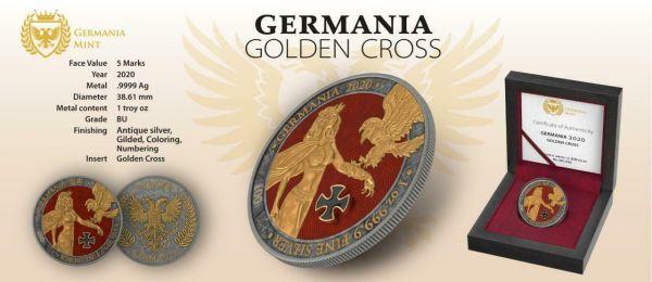 Germania 2020 5 Mark GERMANIA Golden Cross 1 Oz Silver Coin