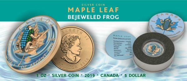 Canada 2019 5$ Maple Leaf Bejeweled FROG 1 oz Silver Coin