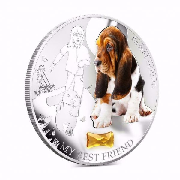 Fiji 2013 BASSET HOUND My Best Friend Dogs & Cats 1 Oz Proof Silver Coin