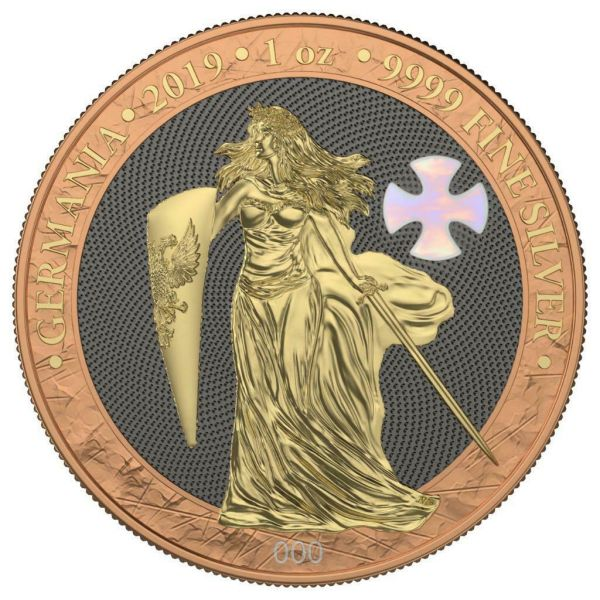 Germania 2019 5 Mark GERMANIA Mother of Pearl Cross 1 Oz Silver Coin