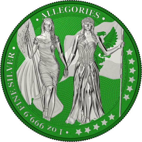 Germania 2019 5 Mark Columbia & Germania i-Color - Forest Green 1 Oz Silver Coin