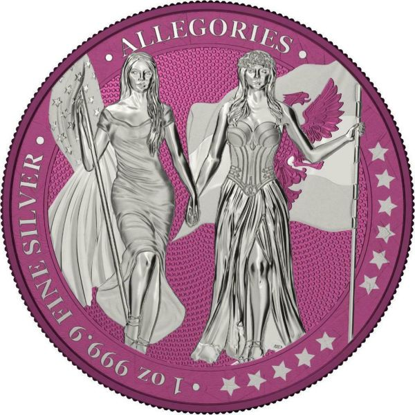 Germania 2019 5 Mark Columbia & Germania i-Color - Magenta haze 1 Oz Silver Coin