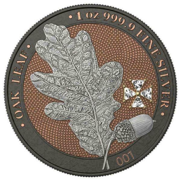 Germania 2019 5 Mark OAK LEAF Crystal Cross 1 Oz Silver Coin