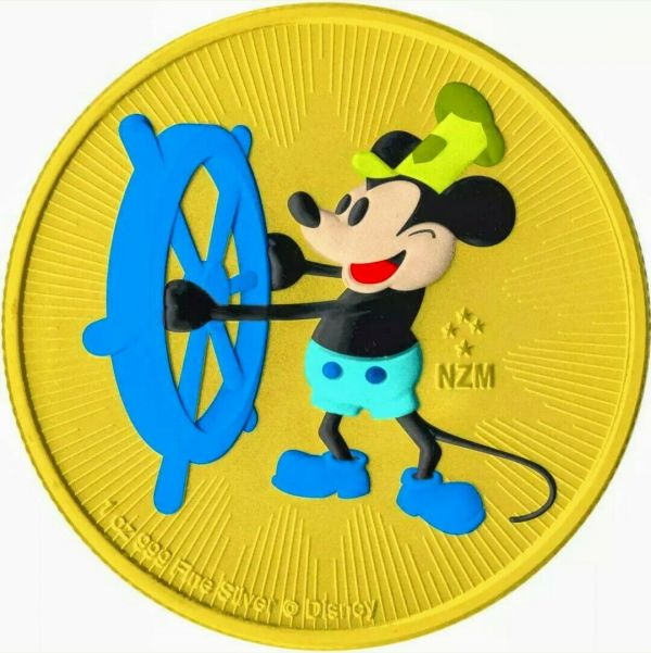 Niue 2017 2$ Steamboat Willie - Andy Warhol - Yellow - 1 Oz Silver Coin