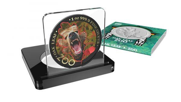 Germania 2019 5 Mark The Oak Leaf - Zoo Series - Bear - 1 Oz Silver Coin