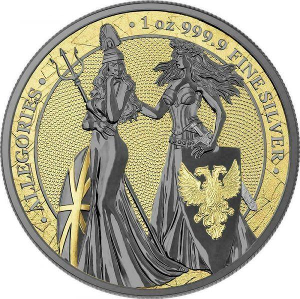 Germania 2019 5 Mark Germania & Britannia - Gold & Rhodium 1 Oz Silver Coin