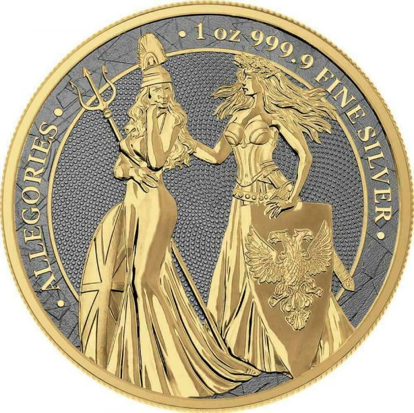 Germania 2019 5 Mark Germania & Britannia - Rhodium & Gold 1 Oz Silver Coin