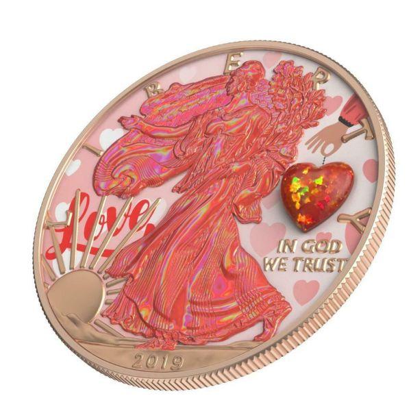 USA 2019 $1 Silver Eagle - Opal HEART Amulet 1 Oz Silver Coin.