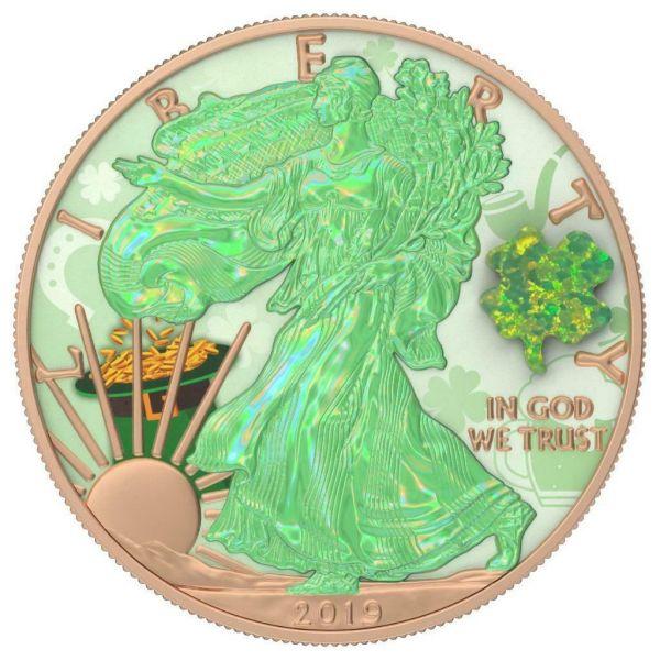 USA 2019 $1 Silver Eagle - Shamrock Opal Amulet 1 Oz Silver Coin