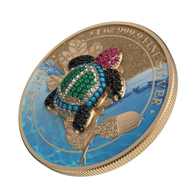 Germania 2019 5 Mark Oak Leaf - Bejeweled Tortoise - 1 Oz Silver Coin