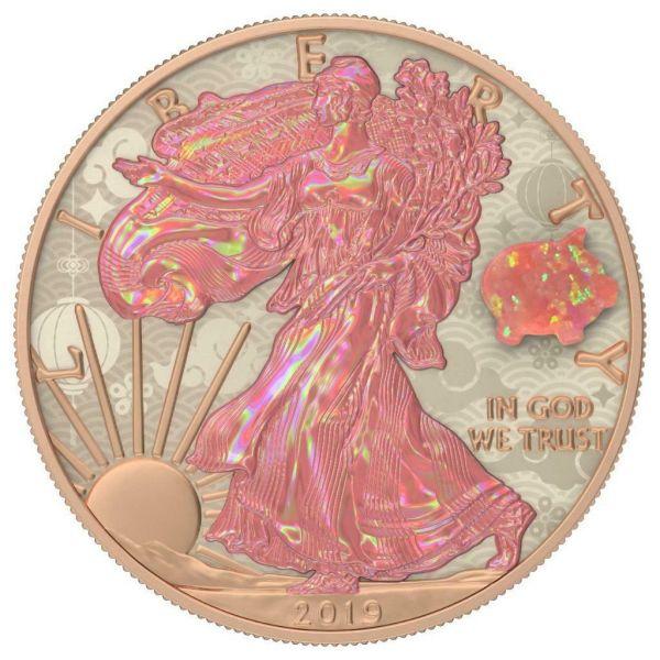 USA 2019 $1 Silver Eagle Opal PIG Amulet 1 Oz Silver Coin