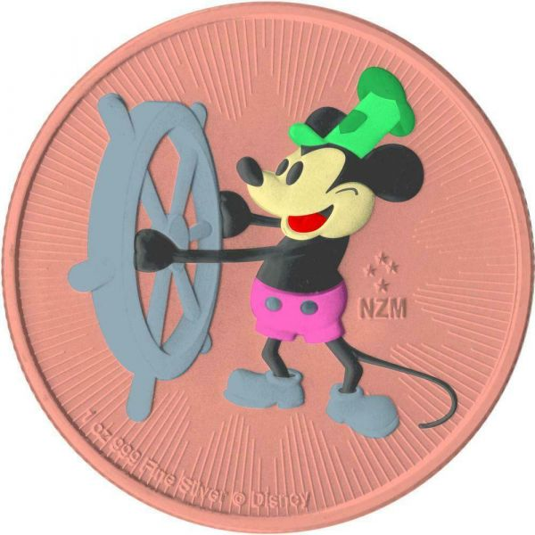 Niue 2017 2$ Steamboat Willie - Andy Warhol - Pink - 1 Oz Silver Coin