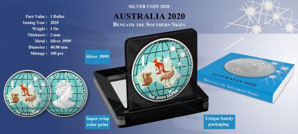 Australia 2020 1$ Beneath the Southern Skies Australian Animals Space Colors Metallic Effect .9999 1 Oz Silver Coin