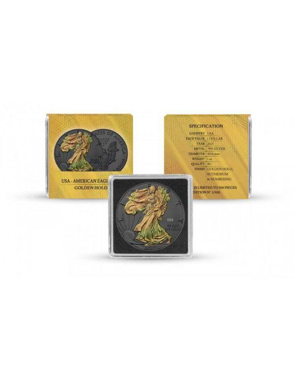 USA 2021 1$ Liberty American Eagle - Golden Holo - 1 Oz Silver Coin
