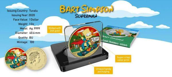 Tuvalu 2020 1$ Bart Simpson Superman 1 Oz Silver Gilded Coin