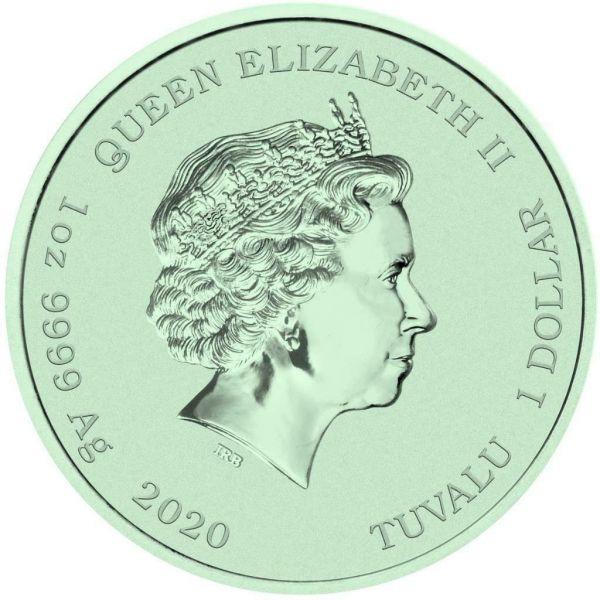 Tuvalu 2020 1$ Bart Simpson Supreme 1 Oz Silver Colored Coin