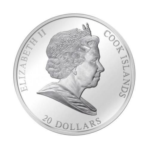 Cook Islands – 2011 – 20 Dollars – 3 oz Masterpieces of Art – Golden Mask of Tutankhamun – silver coin with 1/4 oz gold (PREMIUM EDITION)
